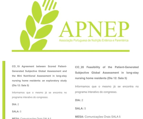To be presented at the annual APNEP congress: Applicability of PG-SGA in long-stay nursing home residents – preliminary results