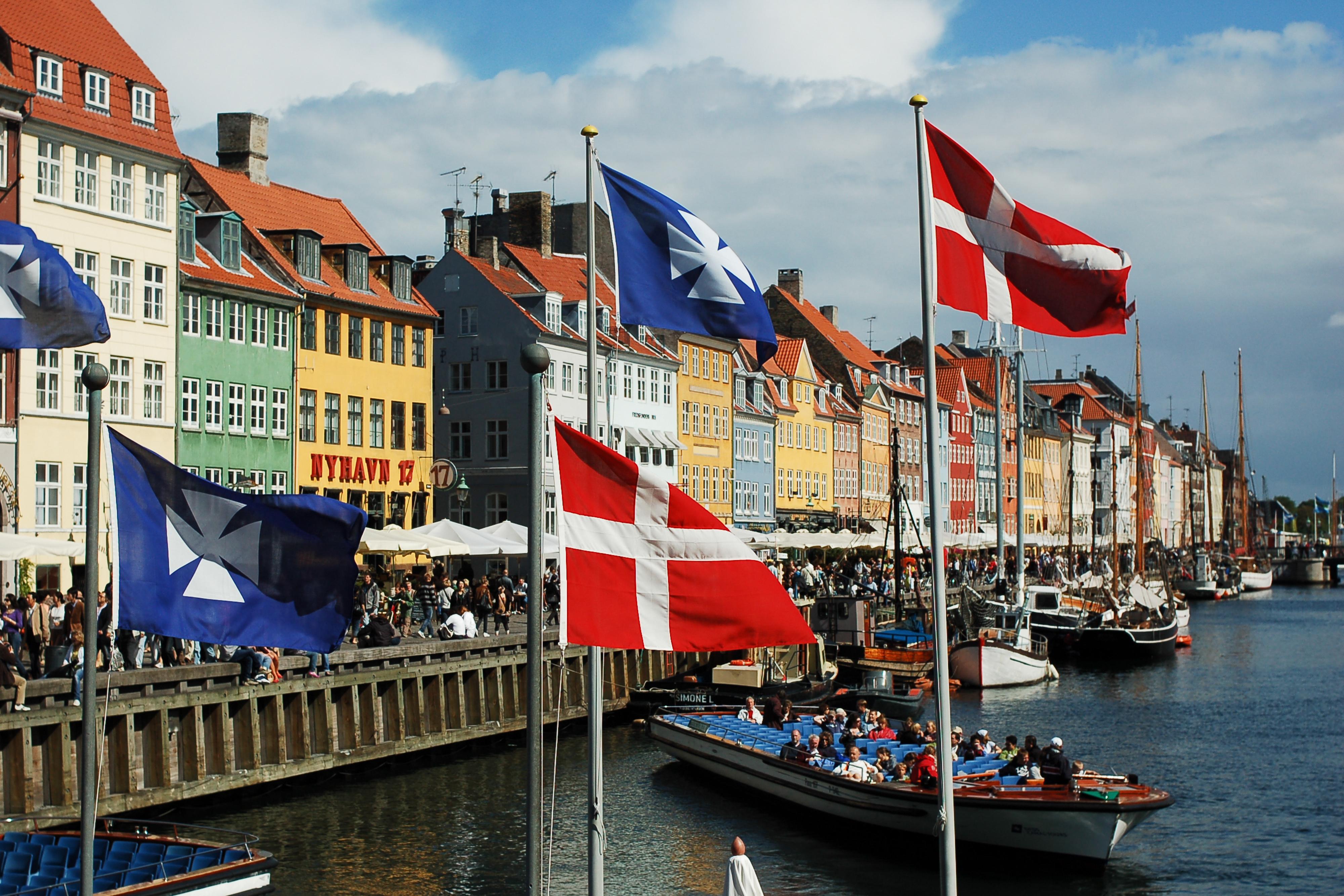 Nyhavn canal as seen from Kongens Nytorv square, Copenhagen, Denmark, Northern Europe.