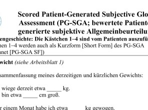 Call for participation in pilot testing of German PG-SGA