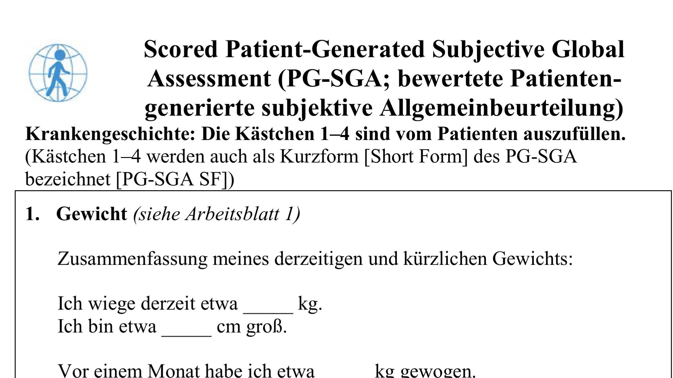 Call for participation in pilot testing of German PG-SGA | Pt-Global