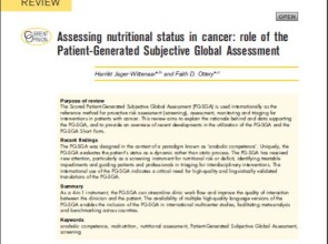 "Review artikel ""Assessing nutritional status in cancer: the role of the PG-SGA"""